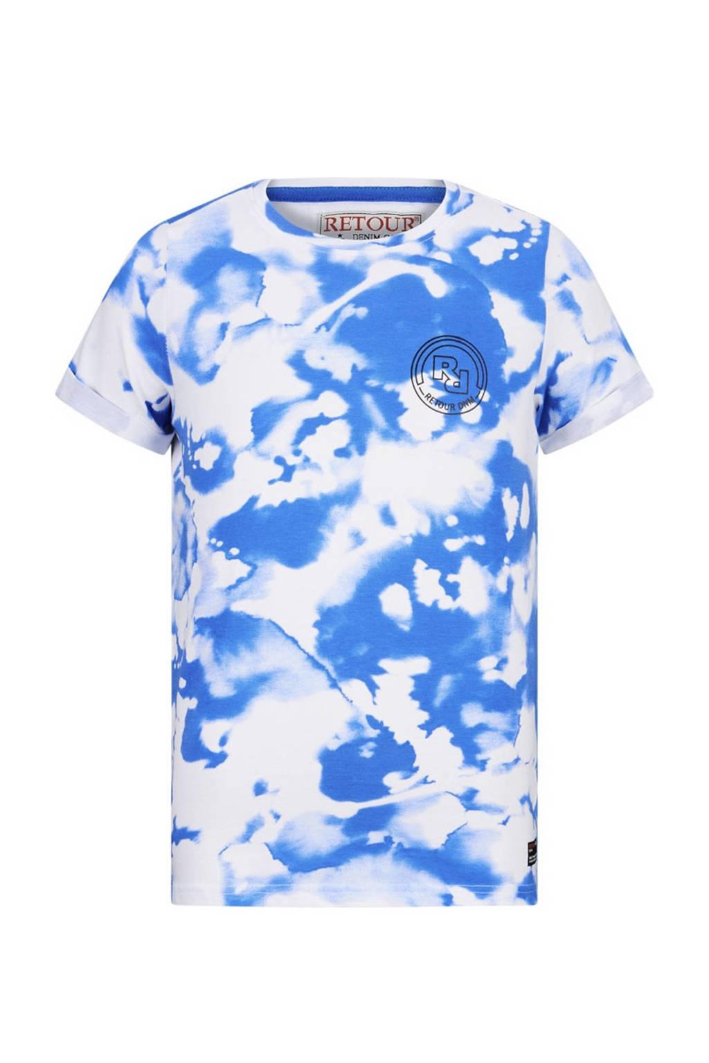 Retour Denim tie-dye T-shirt Levi van biologisch katoen wit/fel blauw, Wit/fel blauw