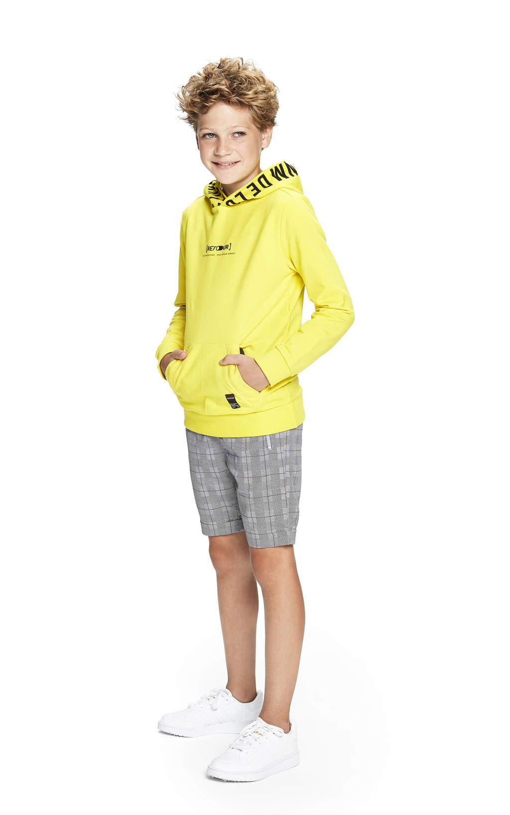 Retour Denim hoodie Pepijn met tekst fris geel, Fris geel