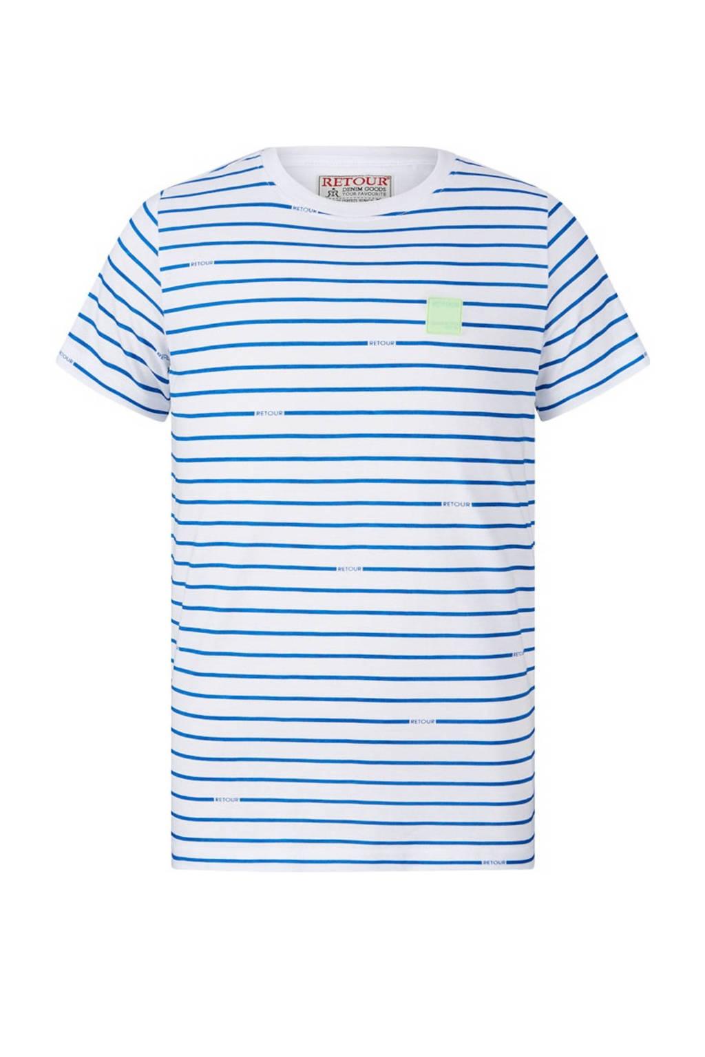 Retour Denim gestreept T-shirt Micha van biologisch katoen wit/blauw, Wit/blauw