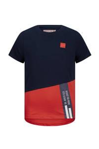 Retour Denim T-shirt Gavin van biologisch katoen donkerblauw/rood, Donkerblauw/rood
