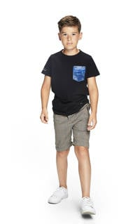 Retour Denim T-shirt Josh van biologisch katoen zwart/blauw, Zwart/blauw