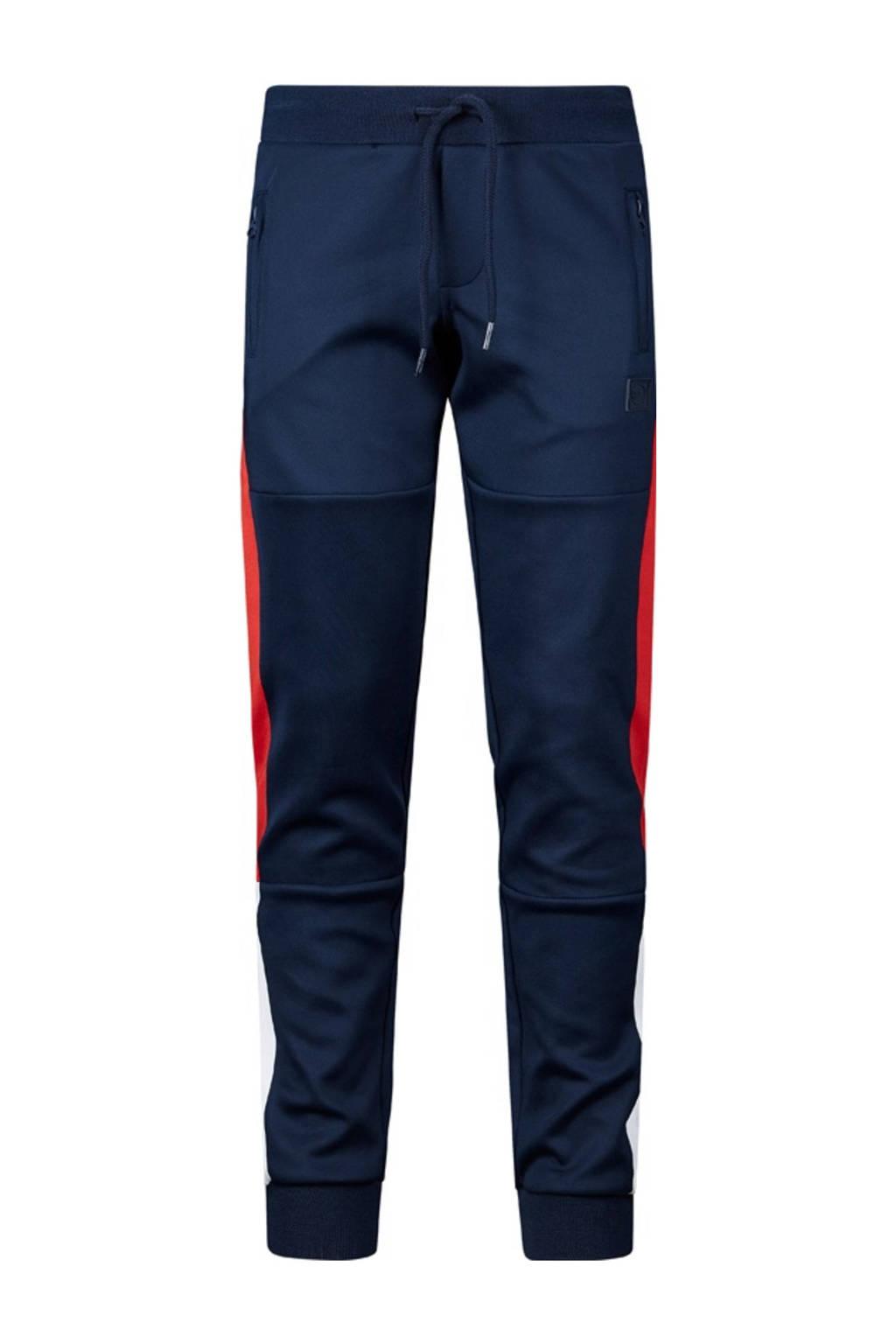 Retour Denim regular fit joggingbroek Elliot met zijstreep donkerblauw/rood/wit, Donkerblauw/rood/wit