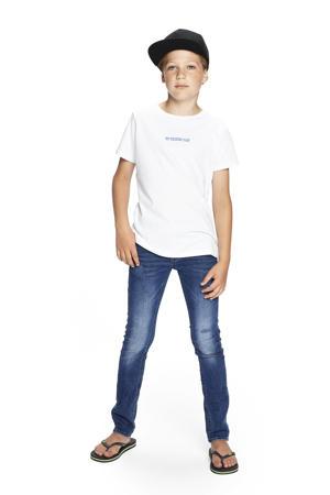 T-shirt Chiel met printopdruk wit/blauw