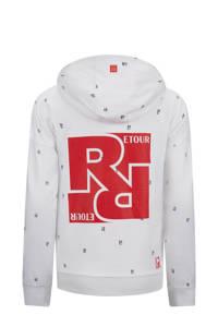 Retour Denim hoodie Max met all over print wit/blauw/rood, Wit/blauw/rood