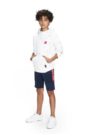 hoodie Max met all over print wit/blauw/rood