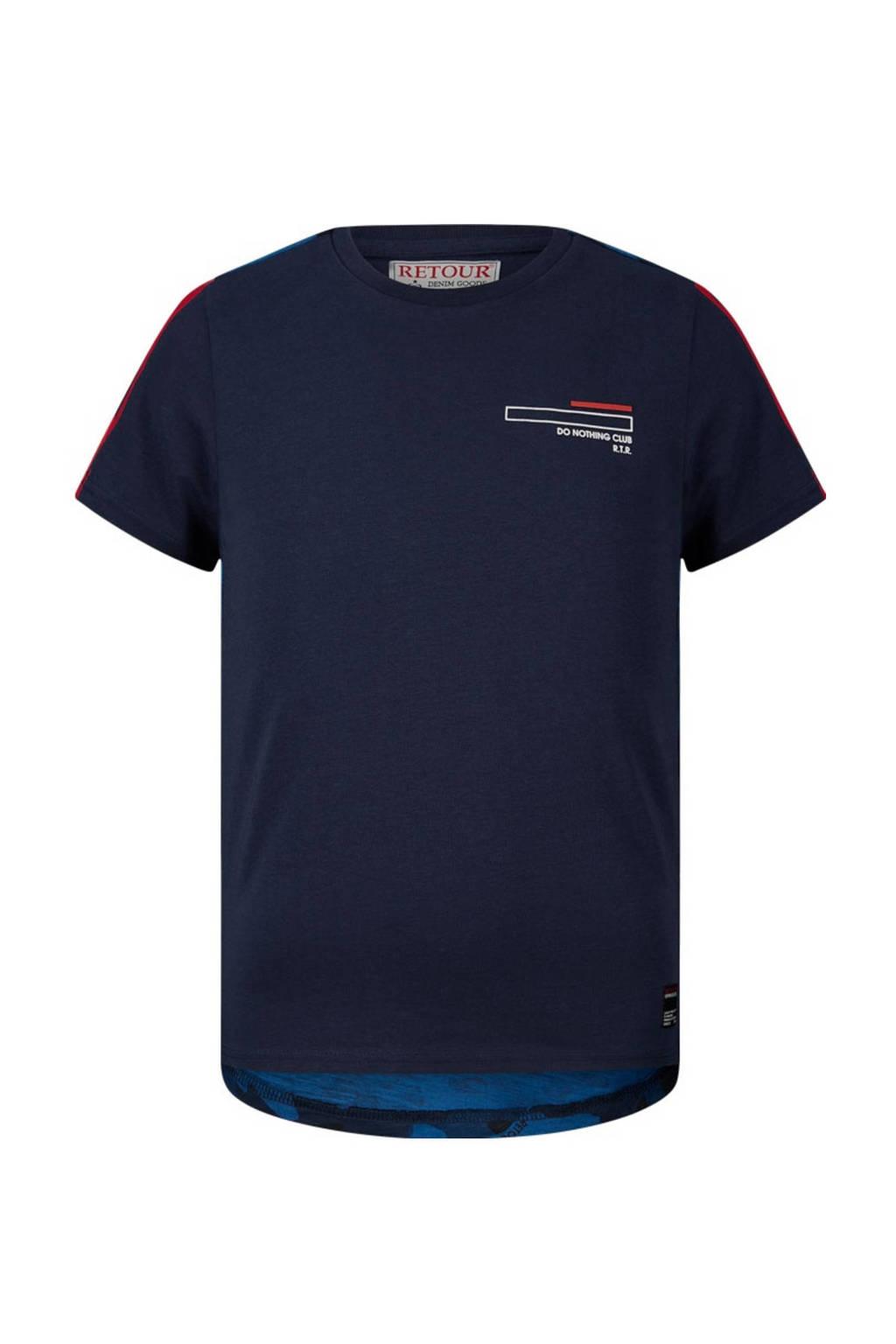 Retour Denim T-shirt Rafael met contrastbies donkerblauw/blauw/rood, Donkerblauw/blauw/rood