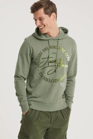 hoodie Micks met logo grijsgroen
