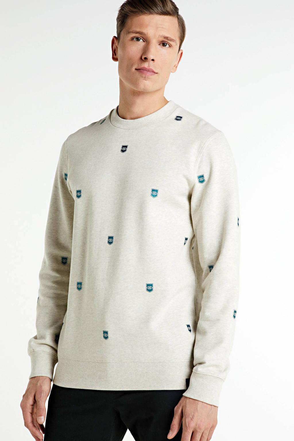 Scotch & Soda sweater met all over print ecru/turquoise