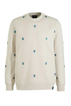 sweater met all over print ecru/turquoise