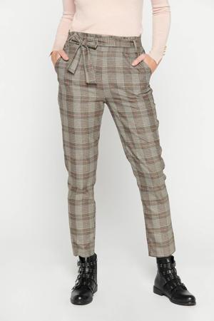 geruite high waist broek bruin