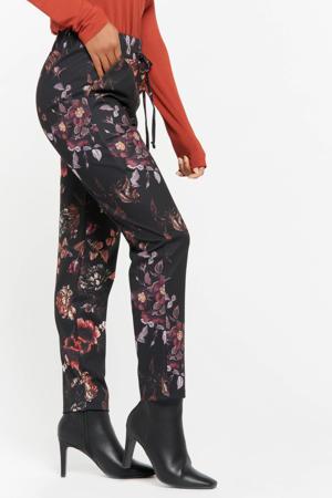 gebloemde broek zwart