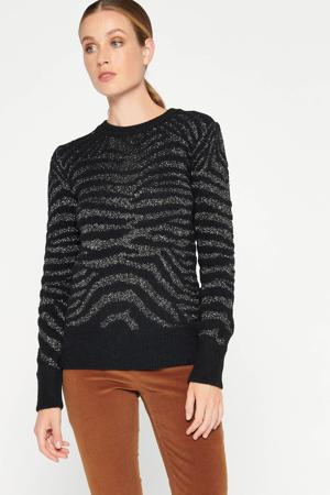 trui met zebraprint zwart
