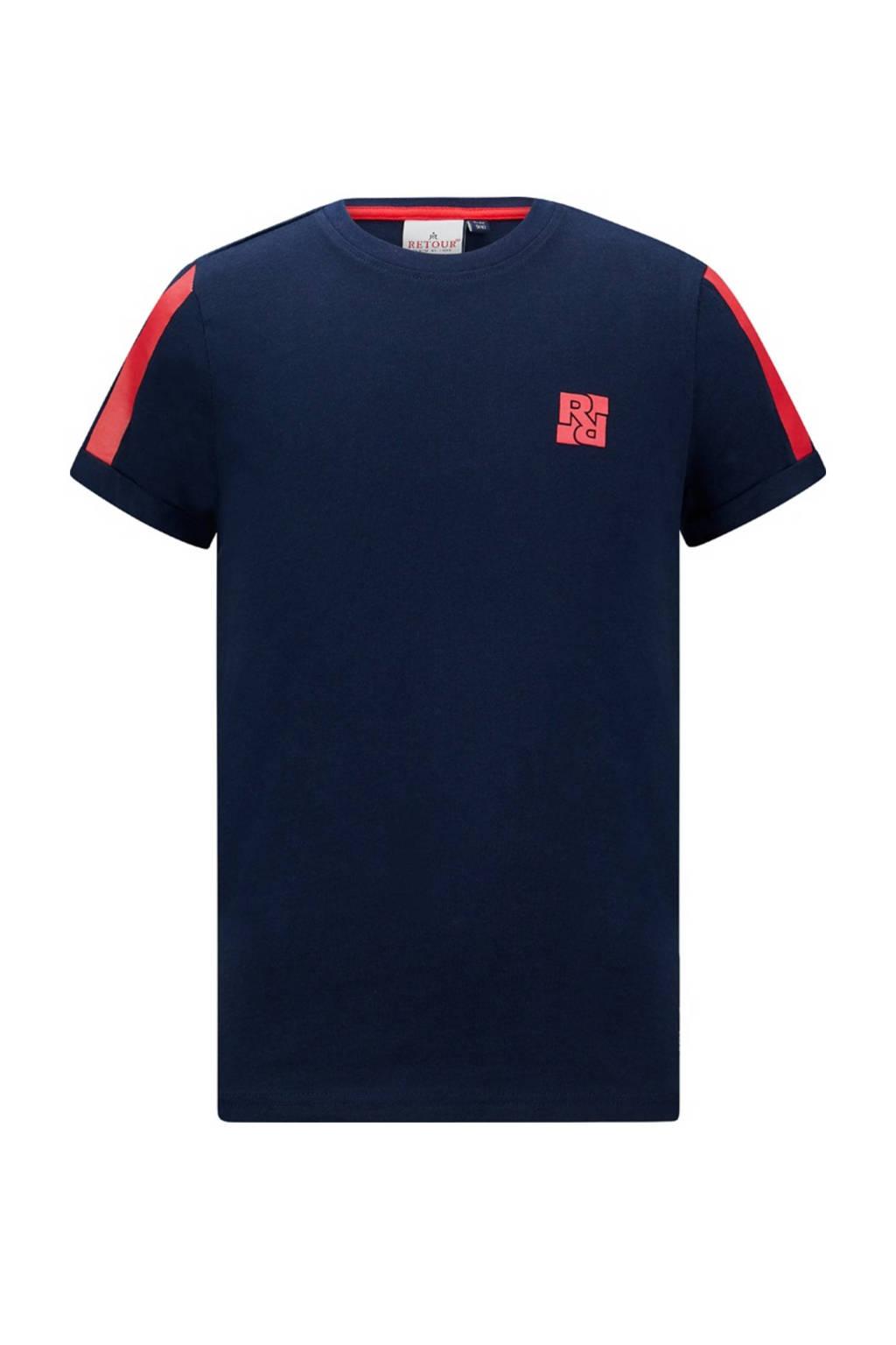 Retour Denim T-shirt Olaf van biologisch katoen donkerblauw/rood, Donkerblauw/rood