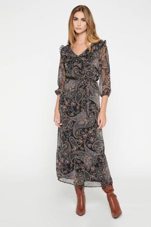 semi-transparante maxi blousejurk met paisleyprint paars