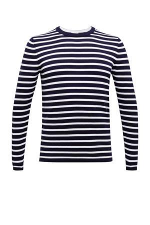 gestreepte fijngebreide trui van biologisch katoen donkerblauw/wit