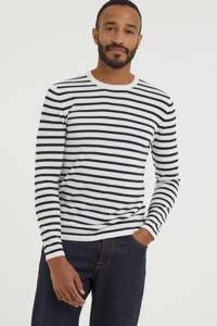 ESPRIT Men Casual gestreepte fijngebreide trui van biologisch katoen donkerblauw/wit, Donkerblauw/wit