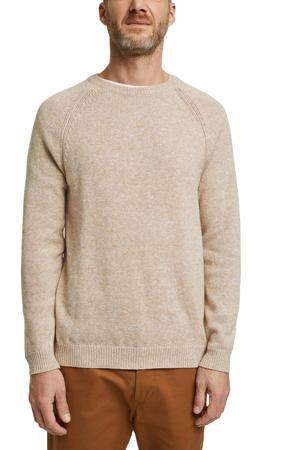 gemêleerde fijngebreide trui van biologisch katoen beige