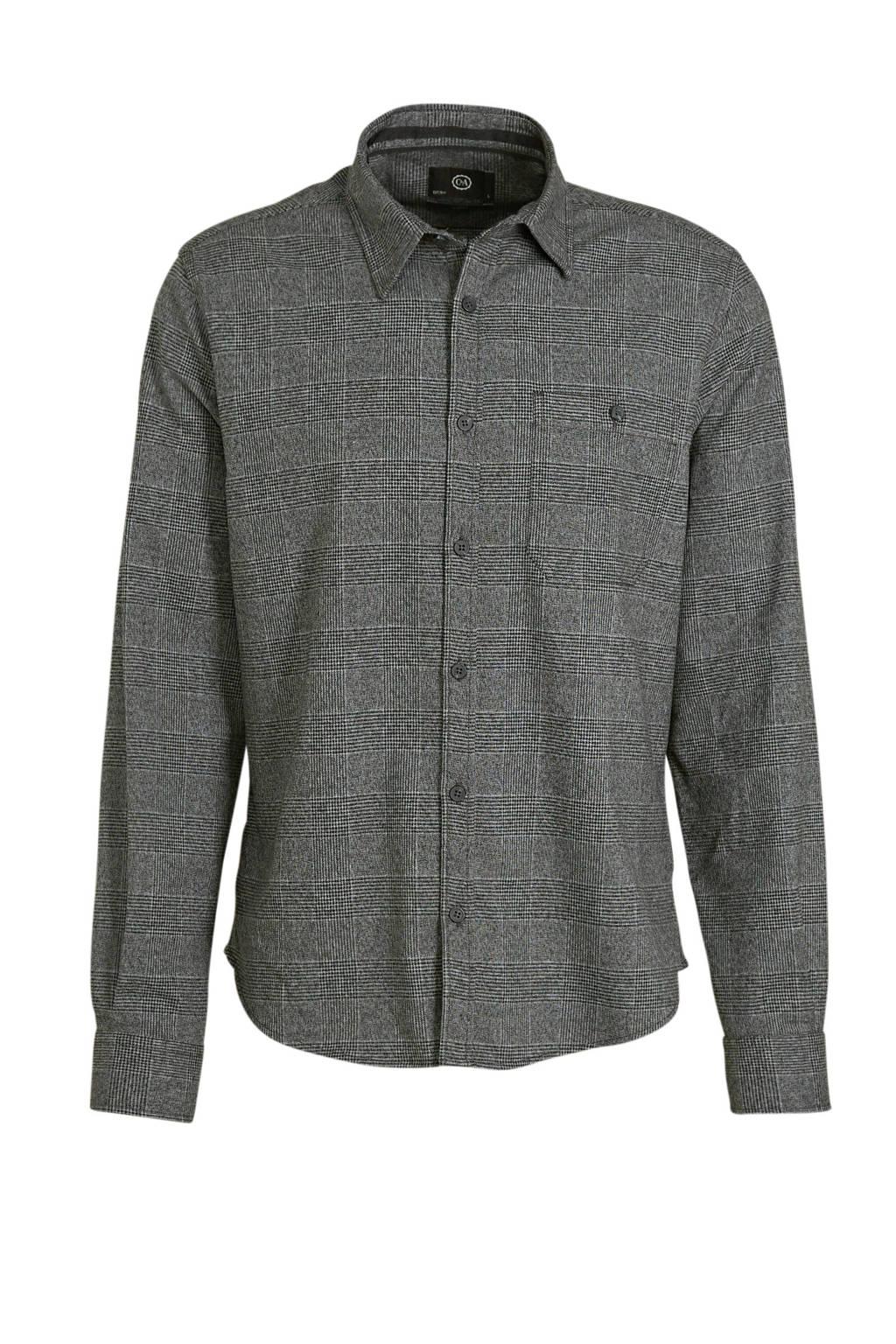 C&A Angelo Litrico geruit slim fit overhemd antraciet, Antraciet