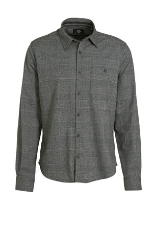 geruit slim fit overhemd antraciet