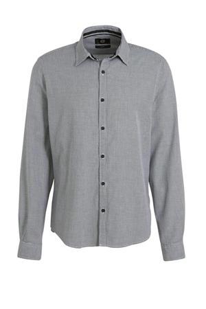 slim fit overhemd met all over print grijs melange