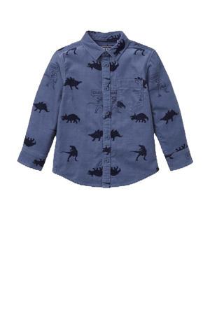 corduroy overhemd met all over print blauw/zwart