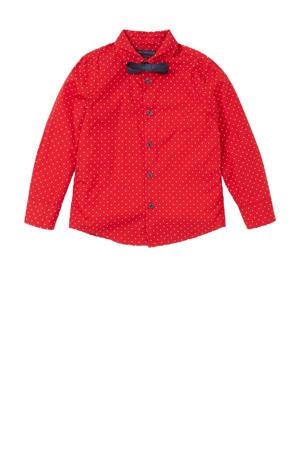 overhemd met strik rood/wit/donkerblauw