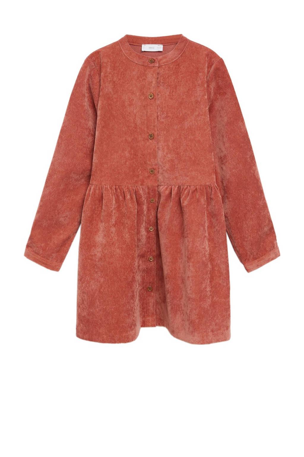 Mango Kids corduroy A-lijn jurk oranje, Oranje