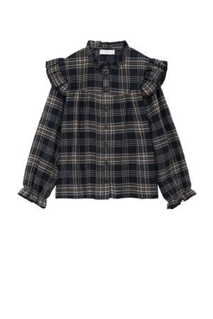 geruite blouse zwart/beige