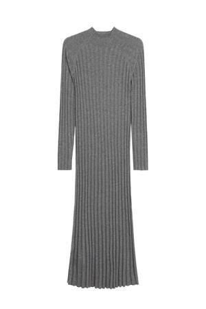 gemêleerde ribgebreide jurk van gerecycled polyester grijs