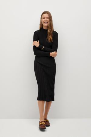 ribgebreide jurk van gerecycled polyester zwart