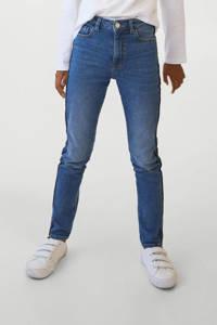 Mango Kids skinny jeans met contrast bies blauw, Blauw
