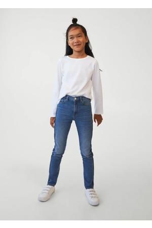 skinny jeans met contrast bies blauw