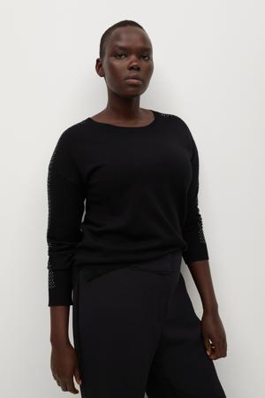 fijngebreide trui met strass steentjes zwart