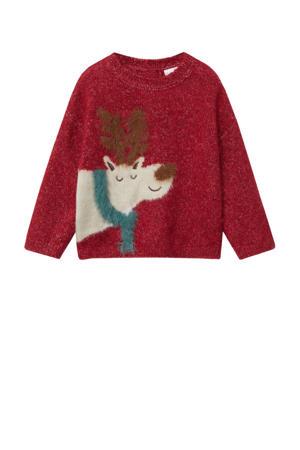 kersttrui met dierenprint rood//wit/groen