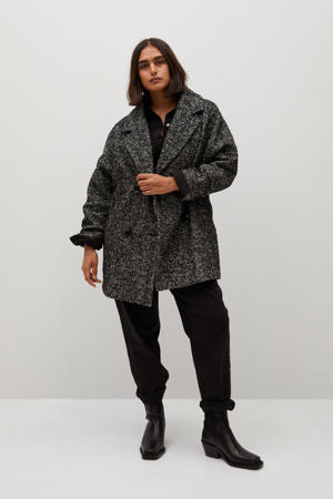 coat met visgraat zwart/ wit