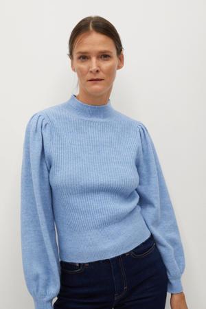 gemêleerde ribgebreide trui van gerecycled polyester lichtblauw