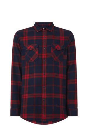 geruit overhemd donkerblauw/rood