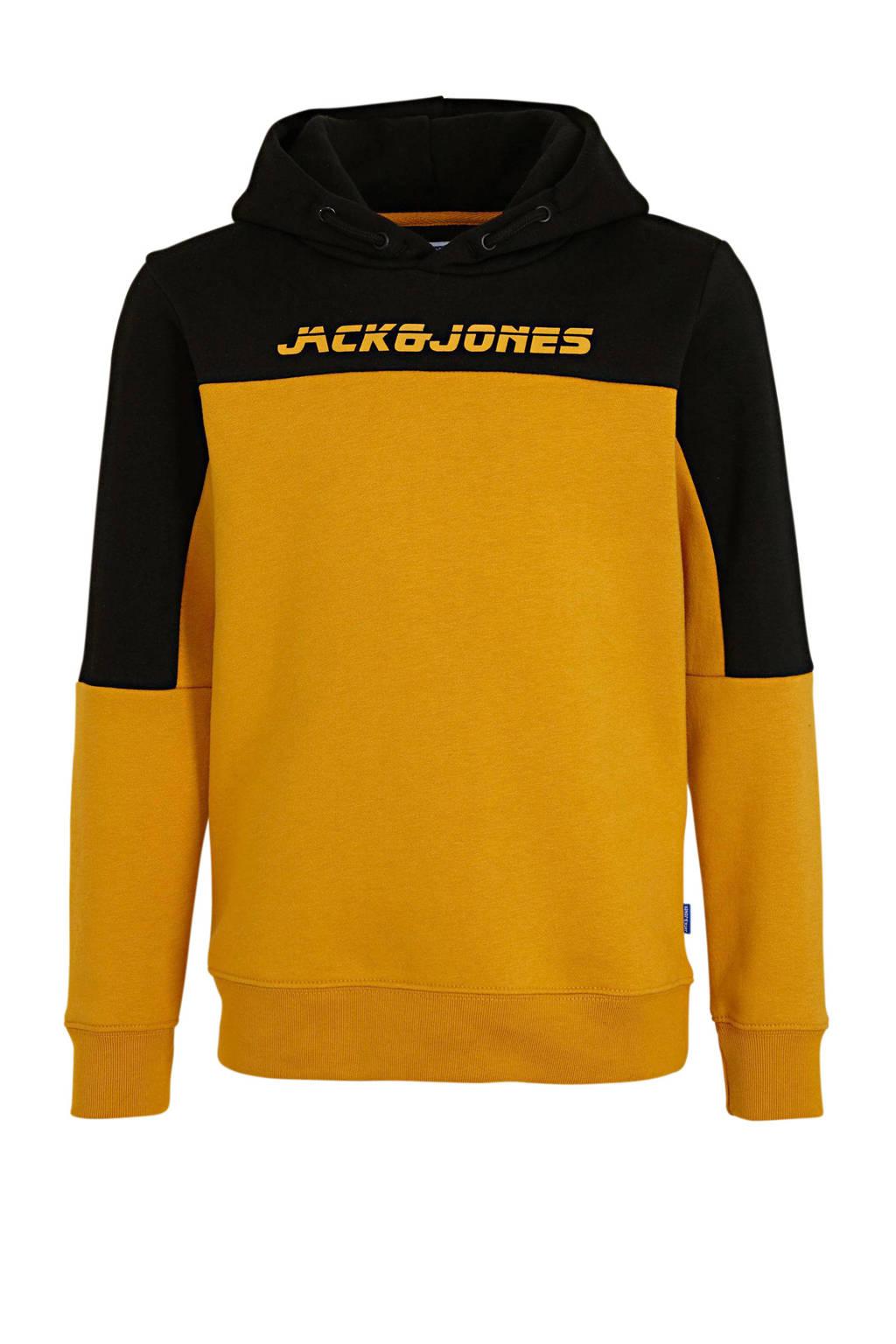 JACK & JONES JUNIOR hoodie Asher met logo geel/zwart, Geel/zwart