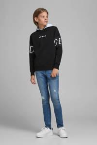 JACK & JONES JUNIOR hoodie Victory met tekst zwart/wit, Zwart/wit