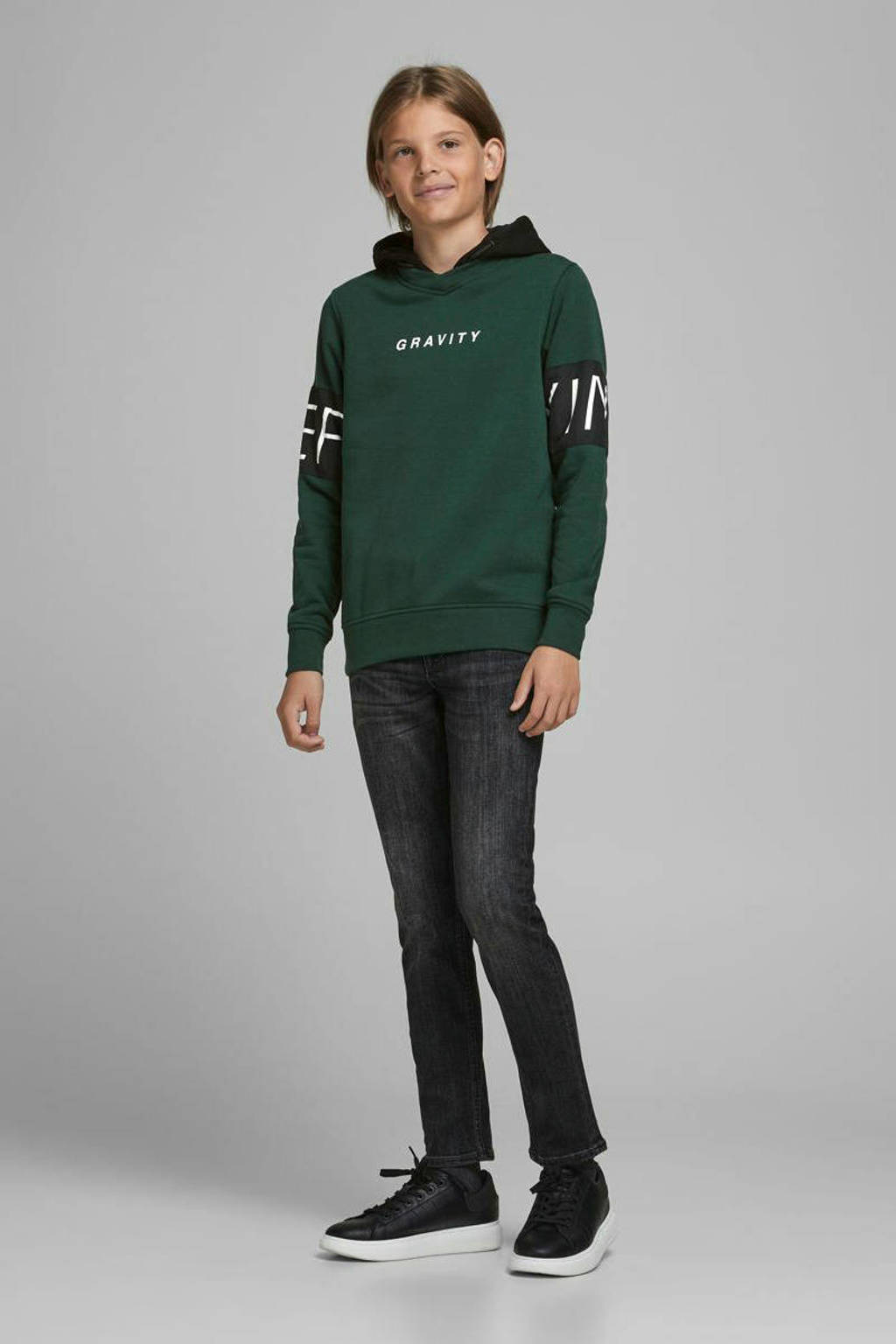 JACK & JONES JUNIOR hoodie Victory met tekst donkergroen/zwart/wit