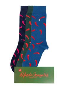 Alfredo Gonzales Giftbox sokken Red Peppers - set van 3, Blauw/donkerblauw/donkergroen