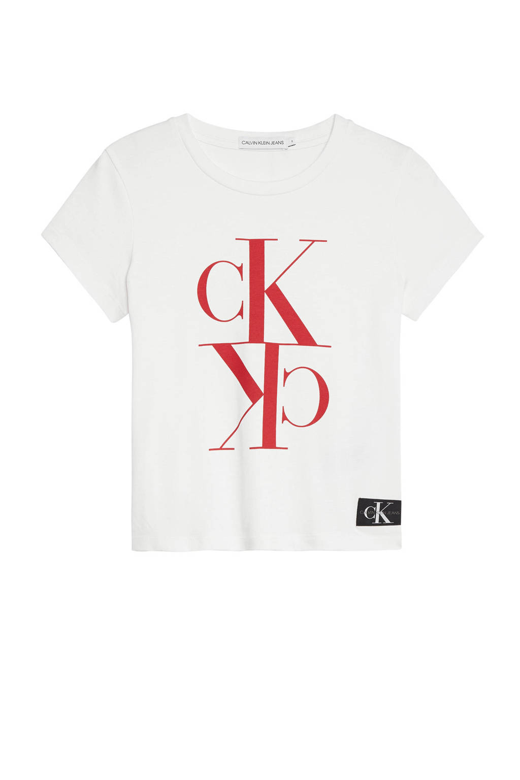 CALVIN KLEIN JEANS cropped T-shirt wit, Wit