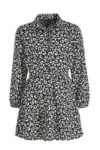 Zigga blousejurk met panterprint zwart/wit, Zwart/wit