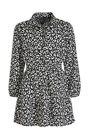 blousejurk met panterprint zwart/wit