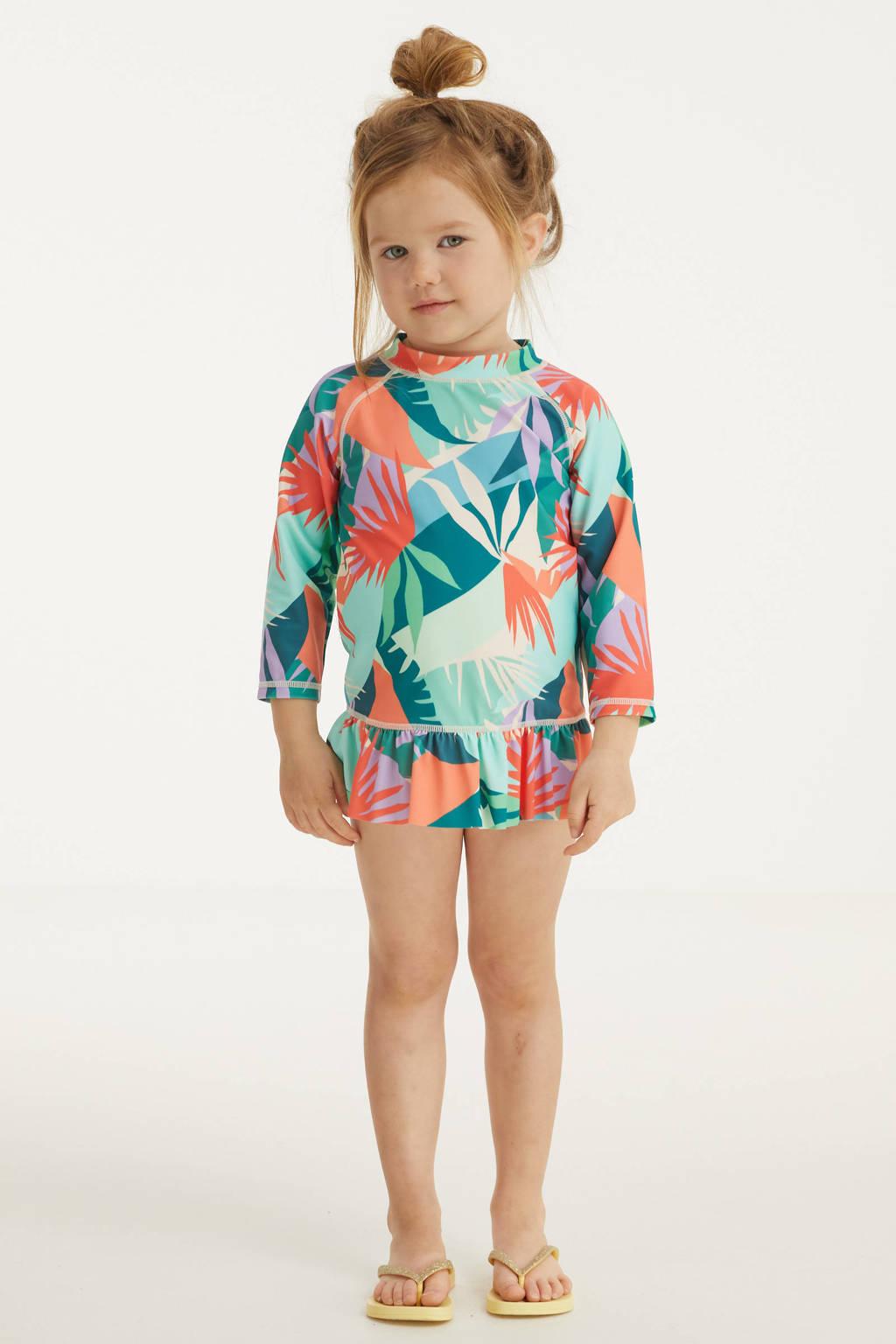 BEACHWAVE baby crop bikini + UV 50+ top met all over print groen/oranje, Groen/oranje/ecru