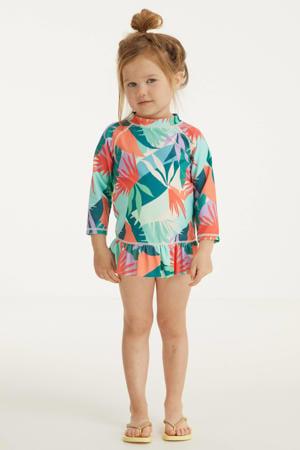 baby crop bikini + UV 50+ top met all over print groen/oranje