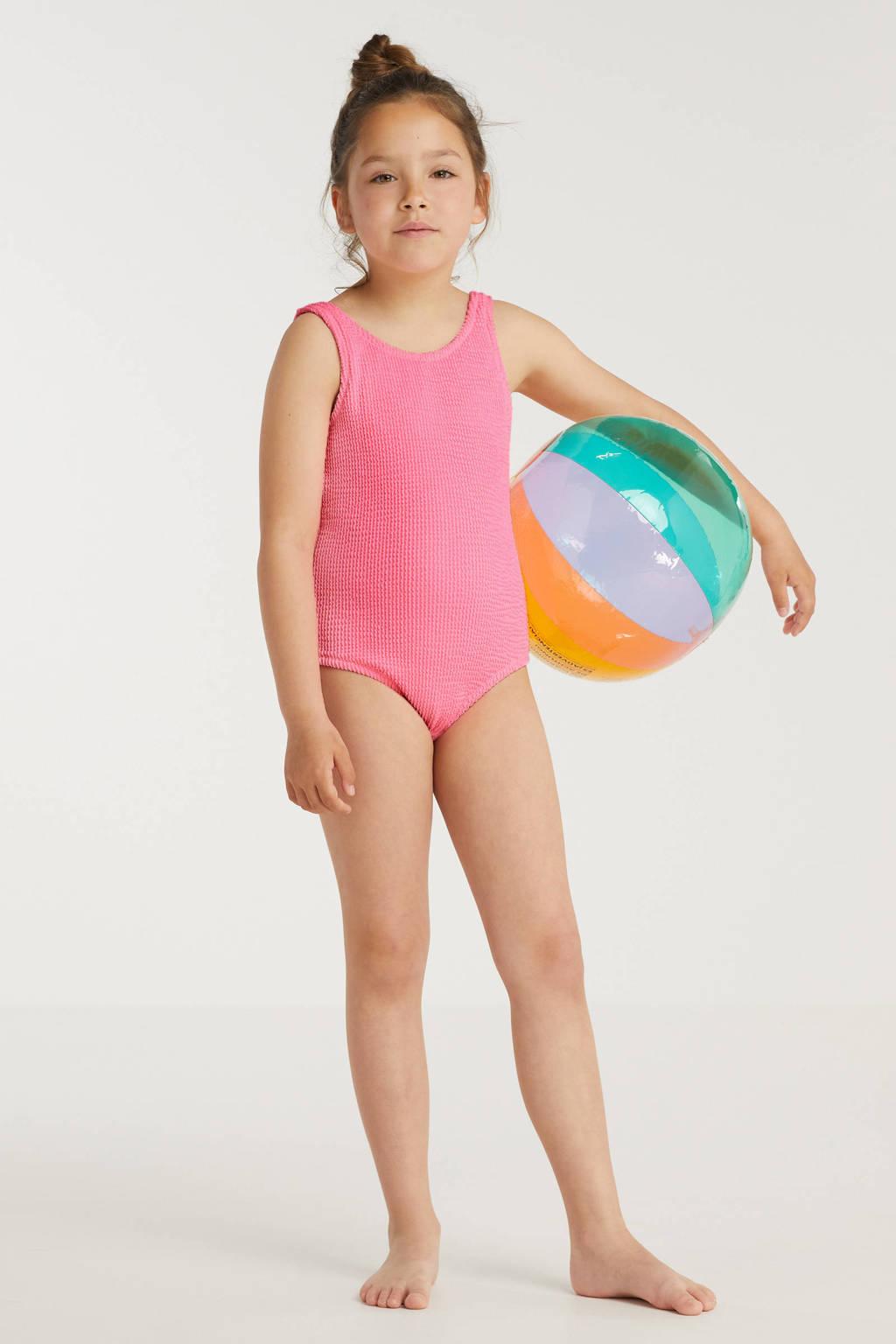 BEACHWAVE meisjes badpak met textuur neonroze, Roze