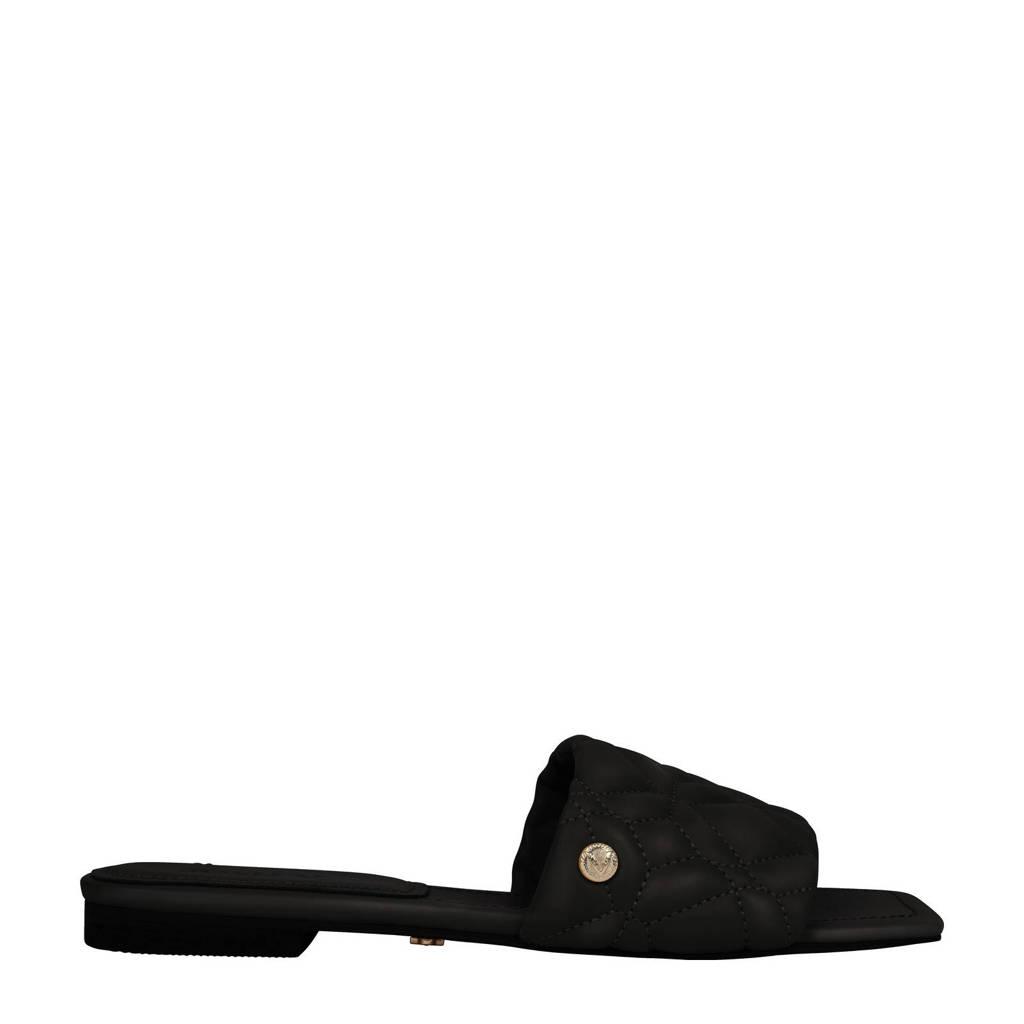 JOSH V Emma  leren slippers zwart, Zwart