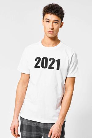 unisex T-shirt met printopdruk ecru