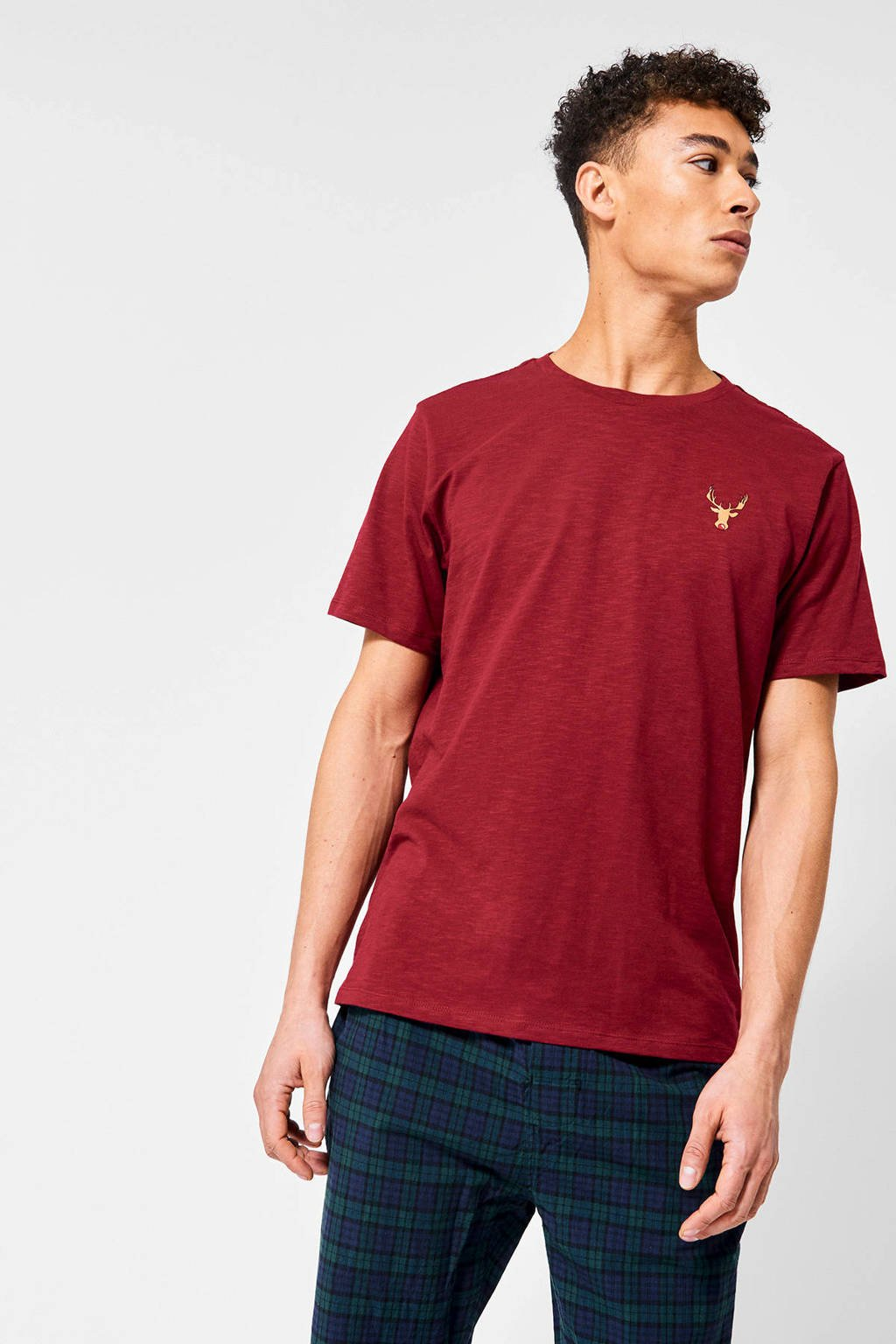 America Today T-shirt Lenno X van biologisch katoen rood, Rood